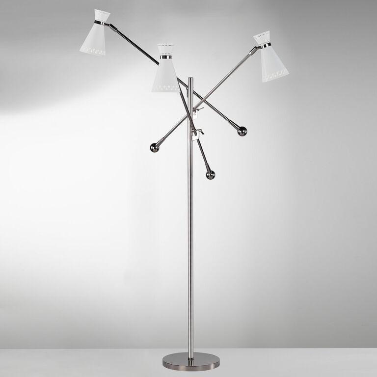 Havana Nickel Three Arm Floor Lamp Modern Floor Lamps