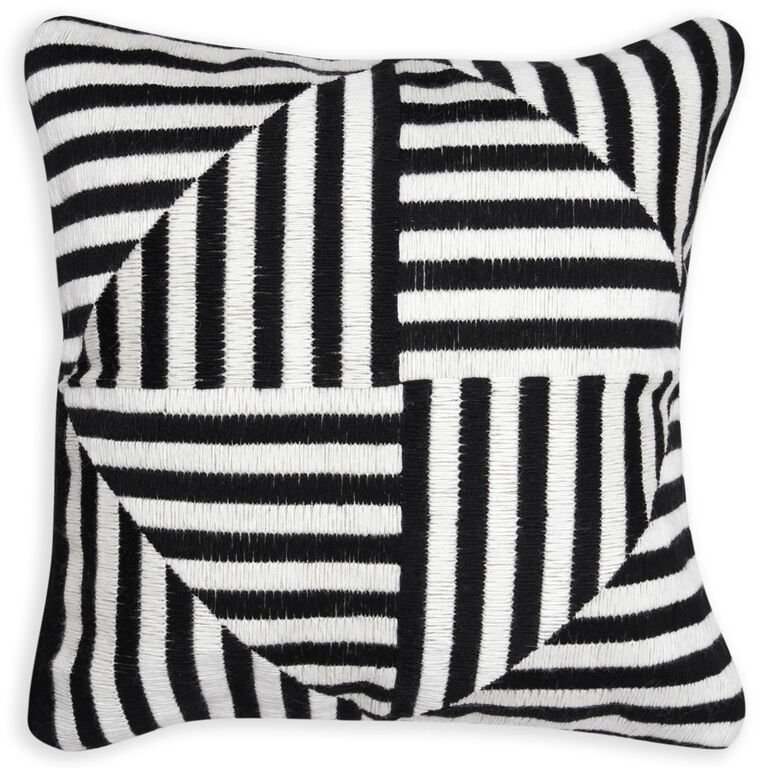 Black And White Patterned Throw Pillows : Bargello Windmill Black and White Throw Pillow Throw Pillows Jonathan Adler