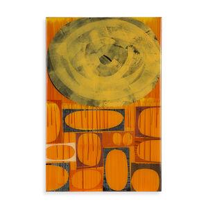 "Rex Ray - Rex Ray 16"" x 24"" Original Orange Multi Mixed Media Collage"