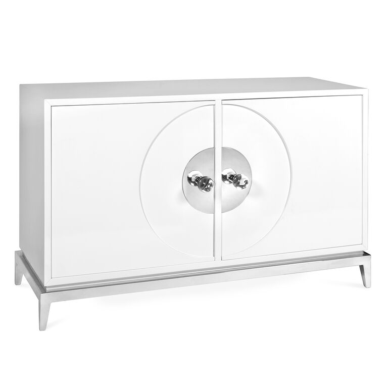 Consoles & Credenzas - Channing Buffet - Channing White And Nickel Buffet Table Modern Furniture