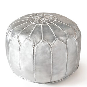 Benches & Ottomans - Silver Leather Moroccan Pouf