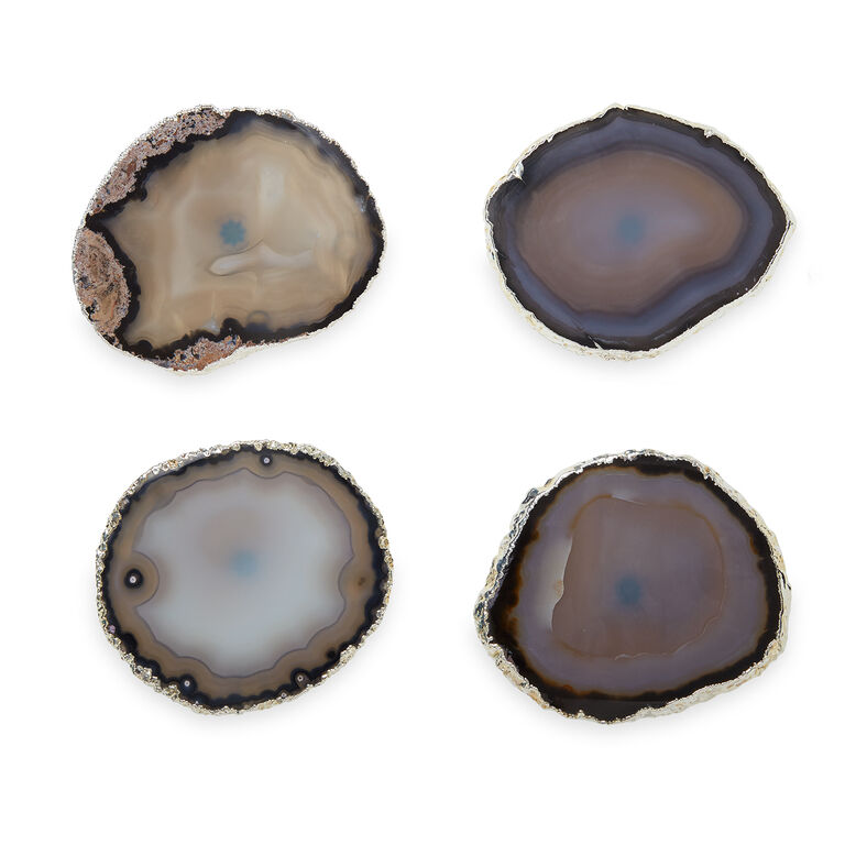 Art & Finds - Natural and Silver Agate Coasters