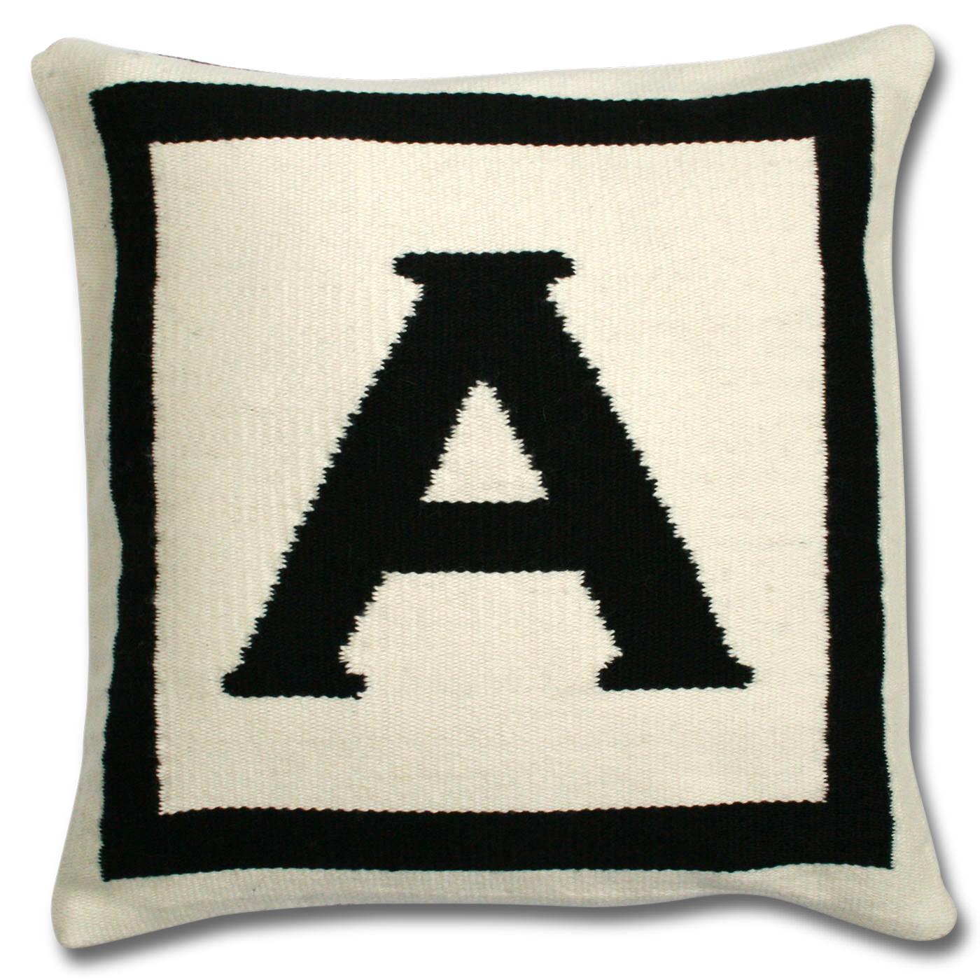 ... Woven Letter   Reversible Letter Throw Pillow