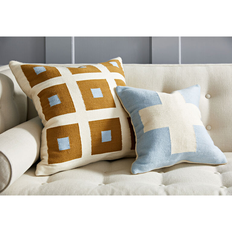 Patterned - Reversible Light Blue Cross Pop Throw Pillow