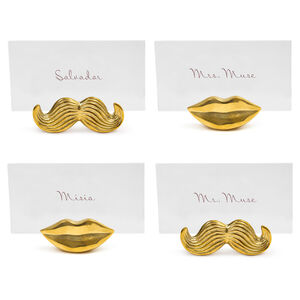 Placecard Holders & Napkin Rings - Brass Mr. & Mrs. Muse Place Card Holders, Set of 4