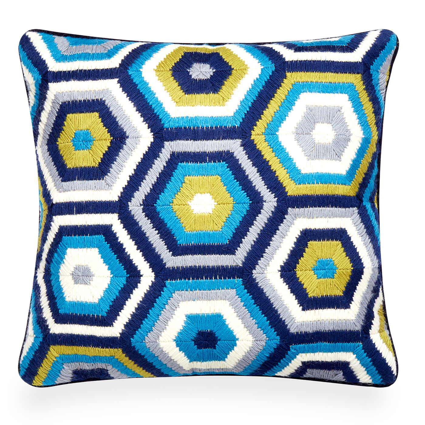 patterned turquoise bargello honeycomb throw pillow