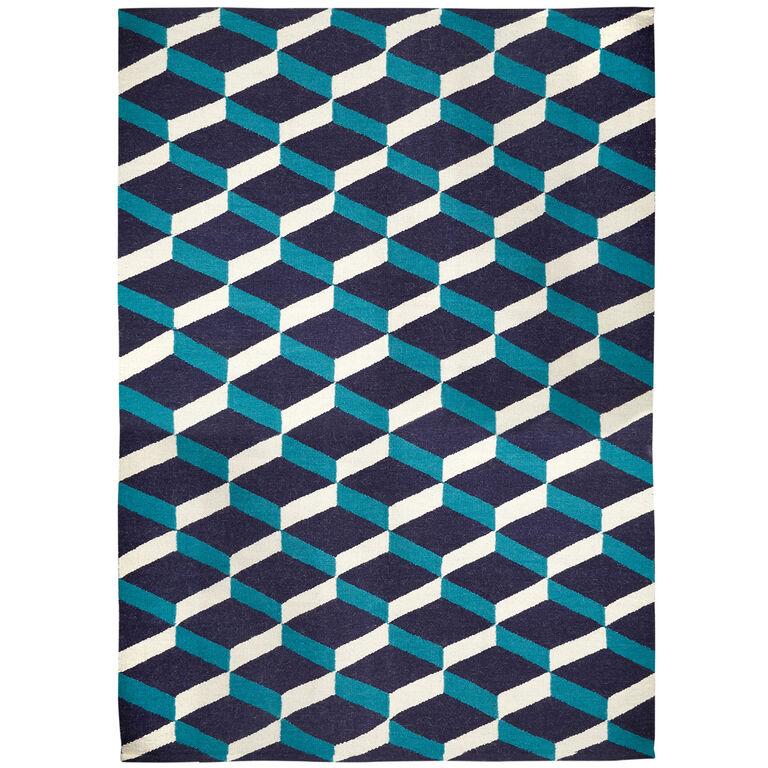 Peruvian Flat Weave - Blue Lorenzo Reversible Peruvian Llama Flat Weave Rug