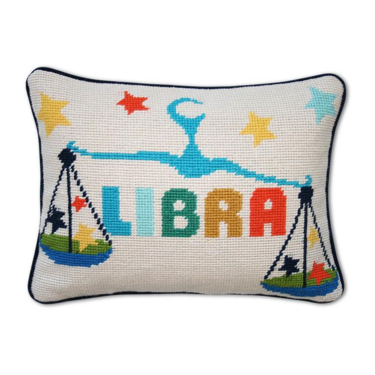 Libra Zodiac Needlepoint Throw Pillow 9 x 12 Jonathan Adler