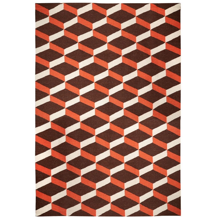 Peruvian Flat Weave - Orange Lorenzo Reversible Peruvian Llama Flat Weave Rug