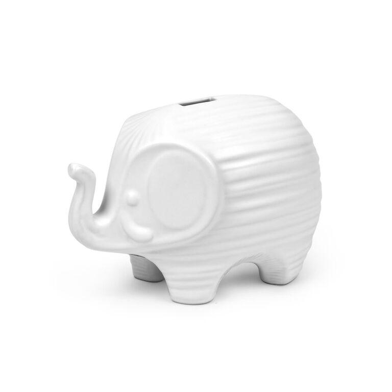 JA Baby - Junior White Ceramic Elephant Bank