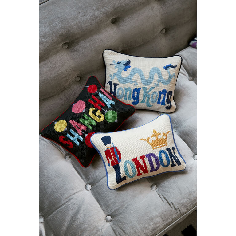 Needlepoint - Hong Kong Needlepoint Throw Pillow