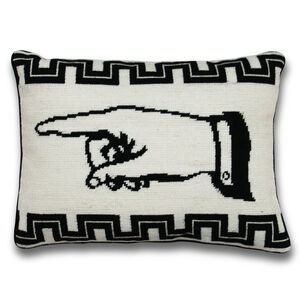 Needlepoint - J'Accuse Right Needlepoint Throw Pillow