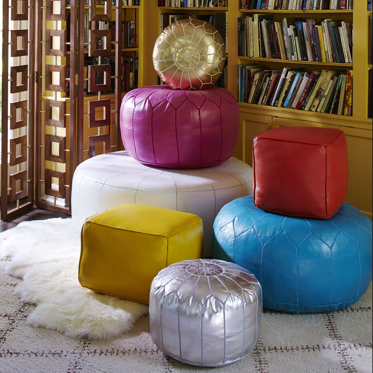 Benches & Ottomans - Large Leather Moroccan Pouf