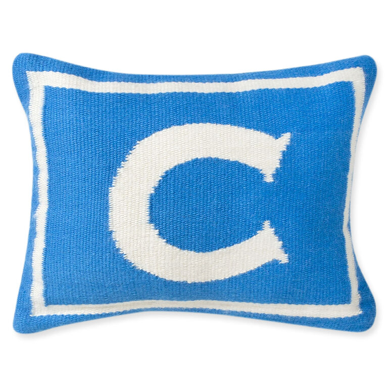 Reversible Junior Blue Letter Throw Pillow 9 x 12 Jonathan Adler