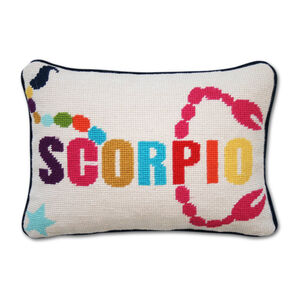 Needlepoint - Scorpio Zodiac Needlepoint Throw Pillow