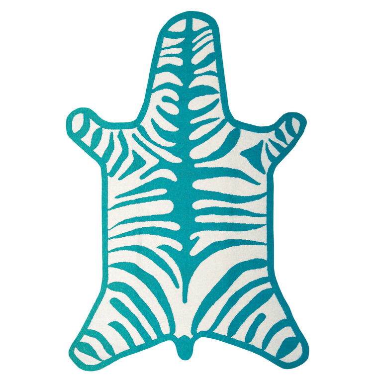 Turquoise Zebra Peruvian Llama Flat Weave Rug