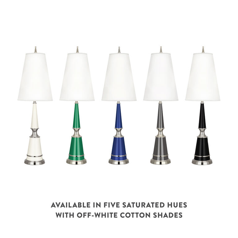 Versailles - Versailles Table Lamp in Nickel with Fabric Shade