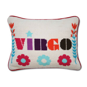 Needlepoint - Virgo Zodiac Needlepoint Throw Pillow