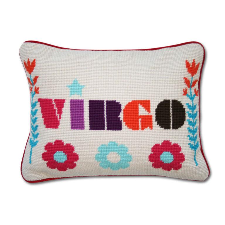 Needlepoint - Virgo Zodiac Needlepoint Throw Pillow