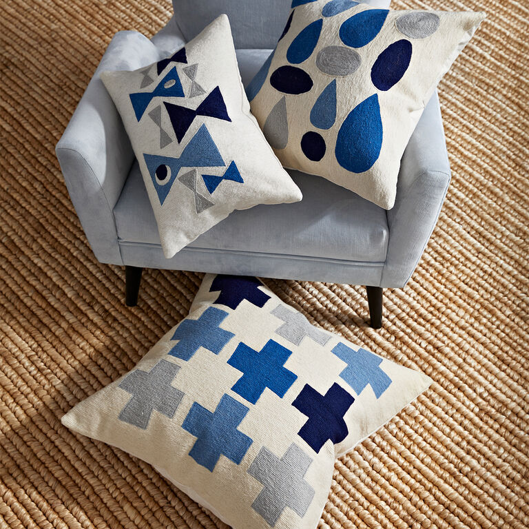 Patterned - Geo Chain Stitch Drops Throw Pillow