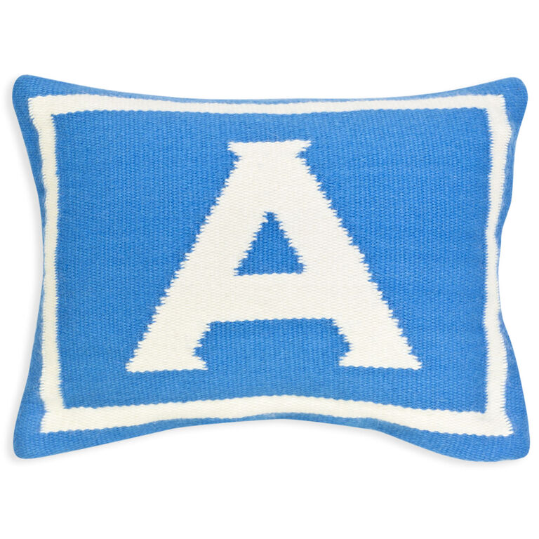 Woven Letter - Reversible Junior Blue Letter Throw Pillow