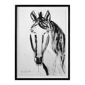 "Jenna Snyder-Phillips - Jenna Snyder-Phillips ""Horse No. 1"" Framed Sumi Ink Painting"