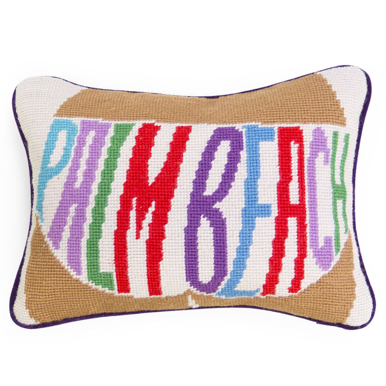 Needlepoint - Palm Beach Needlepoint Throw Pillow