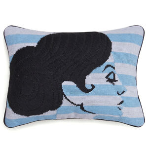 Needlepoint - Big Hair Chignon Needlepoint Throw Pillow