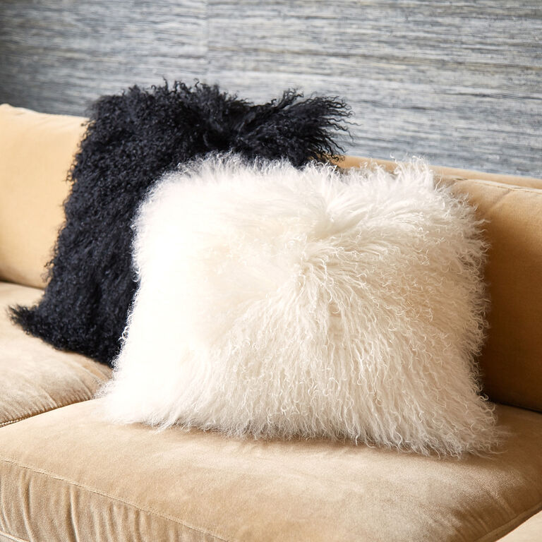 Textured & Embellished - Mongolian Lamb Hair Throw Pillow