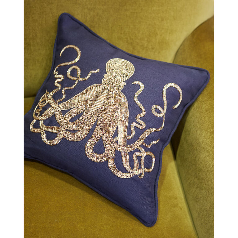 Textured & Embellished - Aquatica Octopus Throw Pillow