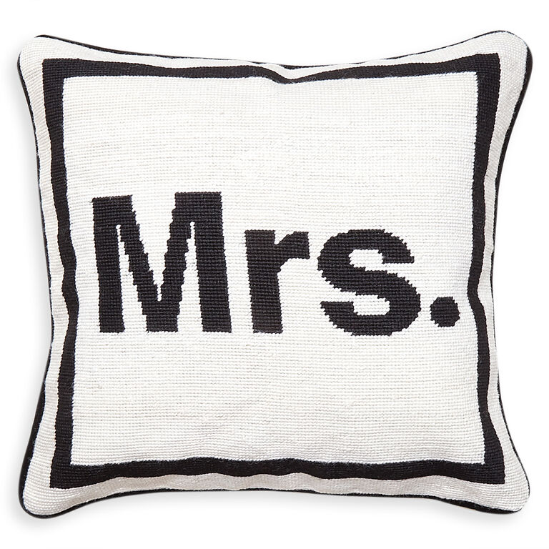 "Needlepoint - ""Mrs."" Needlepoint Throw Pillow"