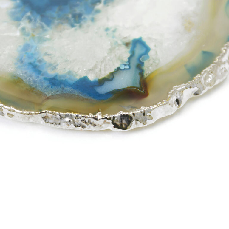 Coasters - Teal and Silver Agate Coasters