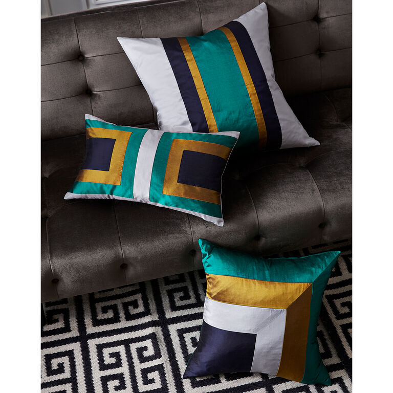 Textured & Embellished - Emerald Siam Borders Throw Pillow