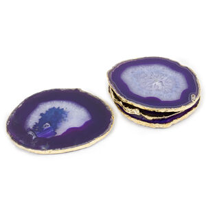 Coasters - Purple and Gold Agate Coasters