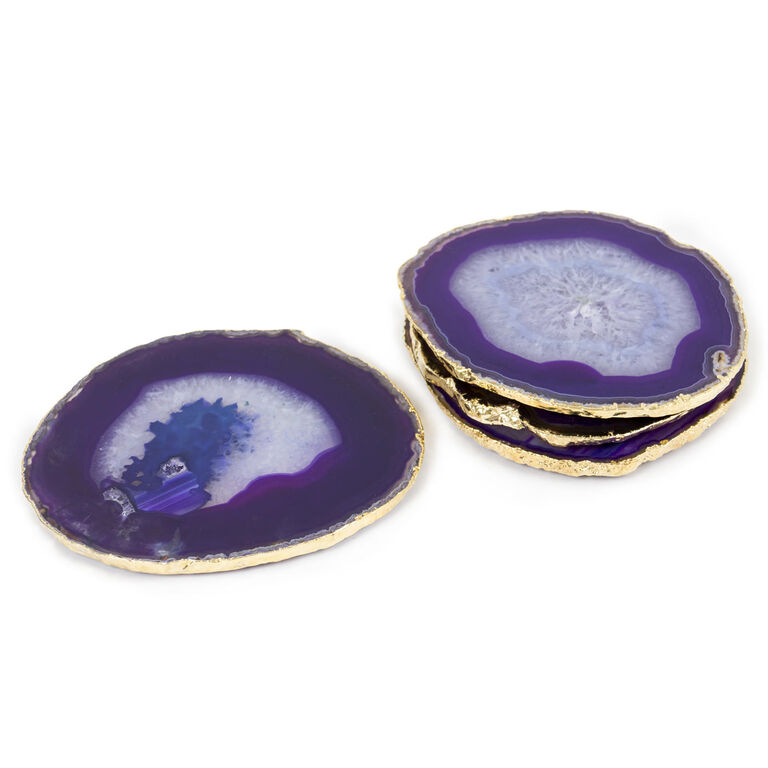 Holding Category for Inventory - Purple and Gold Agate Coasters