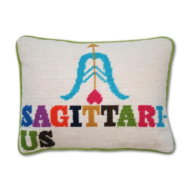Needlepoint - Sagittarius Zodiac Needlepoint Throw Pillow