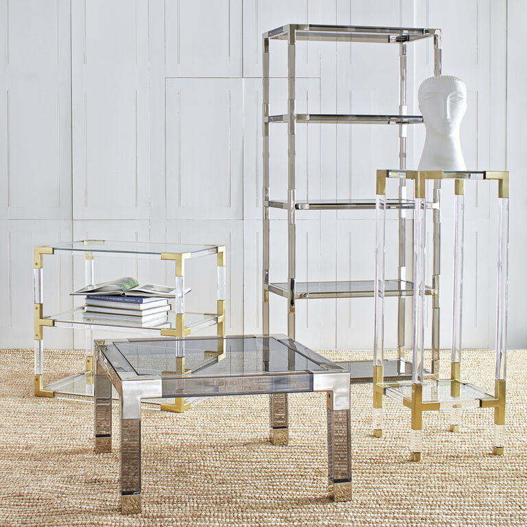 Jacques Two Tier Nickel And Smoke Side Table Modern