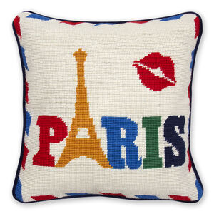 Needlepoint - Paris Needlepoint Throw Pillow