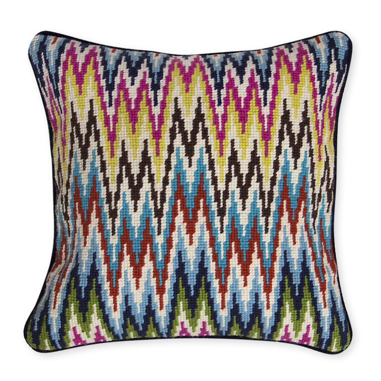 Patterned - Multi Sandpiper Drive Bargello Throw Pillow