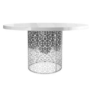 Nixon White And Nickel Dining Table Modern Furniture