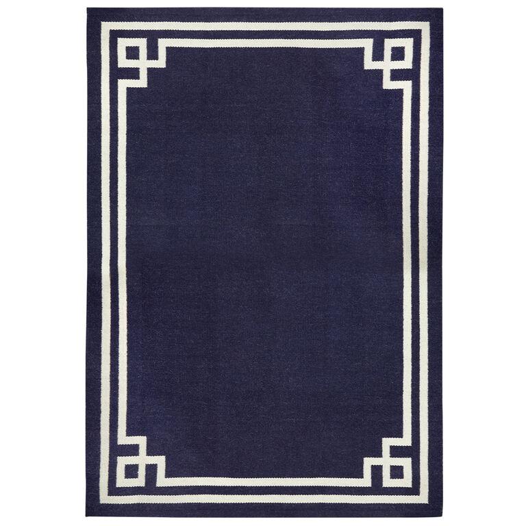 Peruvian Flat Weave - Natural/Navy Philippe Reversible Peruvian Llama Flat Weave Rug
