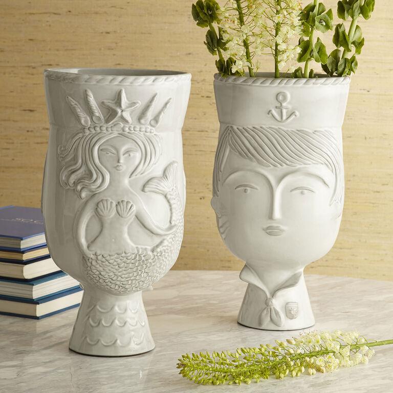 Utopia Reversible Sailor Mermaid Vase Pottery Jonathan Adler