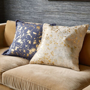 Textured & Embellished - Cowhide Metallic Throw Pillow