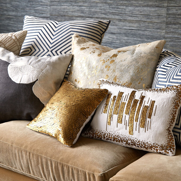 Cowhide Metallic Throw Pillow Throw Pillows Jonathan Adler