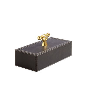Boxes & Canisters - Barbell Leather Box