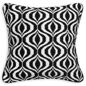 Patterned - Black And White Waves Throw Pillow