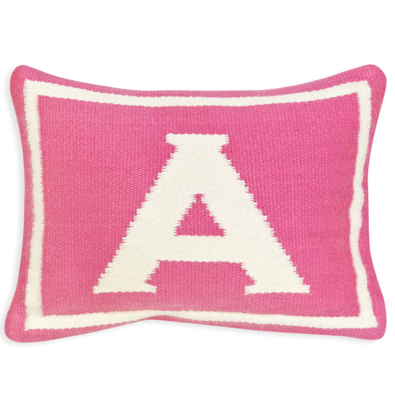 Woven Letter - Reversible Junior Pink Letter Throw Pillow