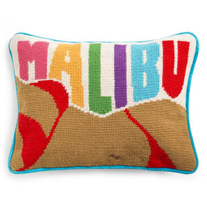 Needlepoint - Malibu Needlepoint Throw Pillow