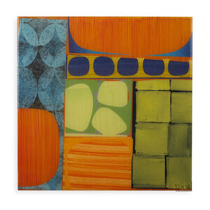 "Rex Ray - Rex Ray ""16 X 16 Artwork"" Original Green/Orange Mixed Media Collage"