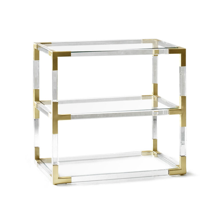 Jacques Two Tier Acrylic And Brass Side Table Modern